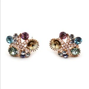 Fashion brown starfish crystal earrings